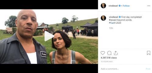 Vin Diesel mengunggah suasana syuting perdana Fast and Furious 9. (Foto: Instagram)