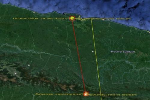 Perkiraan Route Helikopter MI17 Milik TNI AD yang Hilang Kontak dalam penerbangan Oksibil-Jayapura, (Dok.SAR Jayapura)