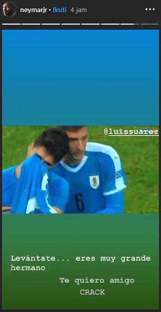 Insta Story Neymar untuk Luis Suarez