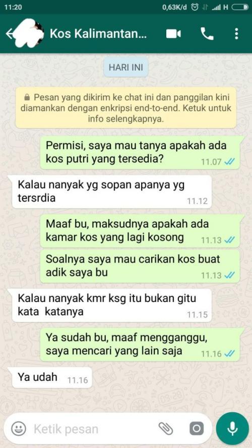 Viral Percakapan Pencari Kos dengan Emak-Emak Pemilik Kos di Kalimantan (foto: Ist)