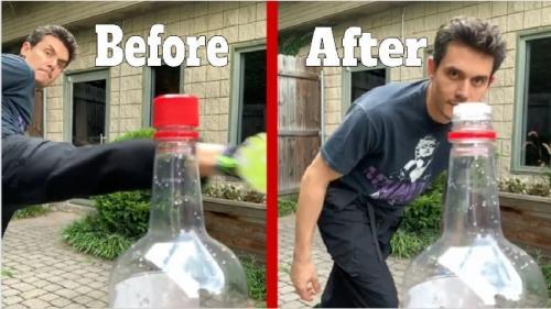 Viral aksi tendang botol minuman di media sosial