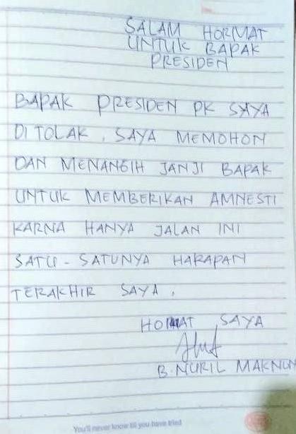 Surat Baiq Nuril ke Jokowi (Ist)