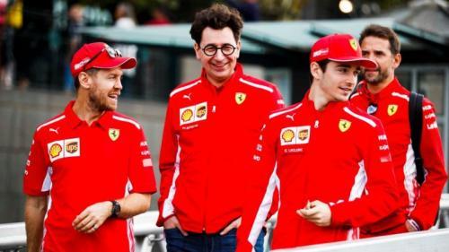 Mattia Binotto tetap senang dengan duet Sebastian Vettel dan Charles Leclerc (Foto: Twitter/Scuderia Ferrari)