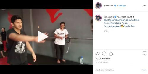 Iko Uwais ikut serrta meramaikan Bottle Cap Challenge yang tengah viral. (Foto: Instagram)