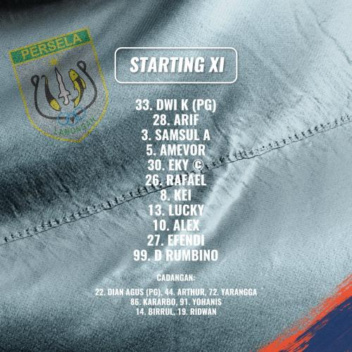 Starting line-up Persela Lamongan vs Kalteng Putra