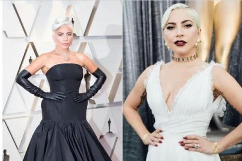 Artis Hollywood Lady gaga dengan pose khasnya