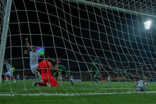 Timnas Aljazair unggul 1-0 jelang turun minum (Foto: CAF_Online/Twitter)