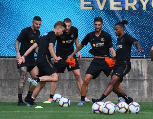Mauro Icardi sempat berlatih bersama rekan setimnya (Foto: Situs resmi Inter Milan)