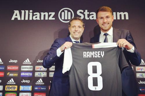 Ramsey saat diperkenalkan sebagai pemain anyar Juventus