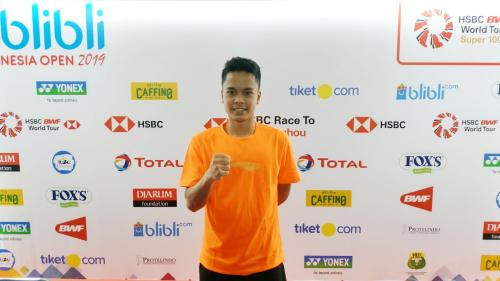 Anthony Sinisuka Ginting saat tampil di Indonesia Open 2019