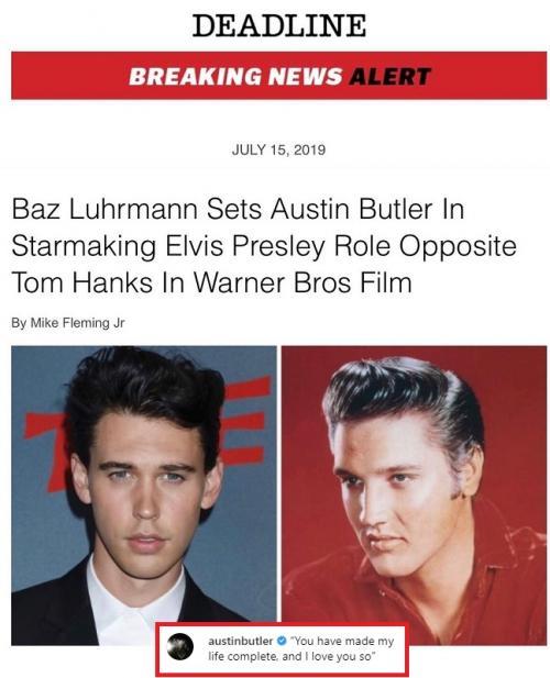 Baz Luhrmann akhirnya mengumumkan Austin Butler berperan sebagai King of Rock 'n Roll dalam film biopik Elvis Presley. (Foto: Instagram)