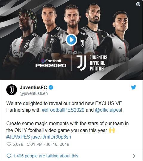 Juventus kerja sama dengan PES (Foto: Twitter/@juventusfc)