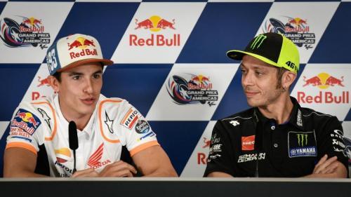 Marquez dan Rossi saat di konferensi pers