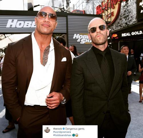 Dwayne The Rock Johnson dan Jason Statham menghadiri world premiere Hobbs & Shaw di California pada 13 Juli 2019. (Foto: Instagram)