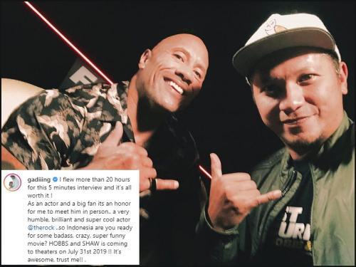 Tak hanya foto bareng, Gading Marten pun berkesempatan mewawancarai The Rock. (Foto: Instagram)
