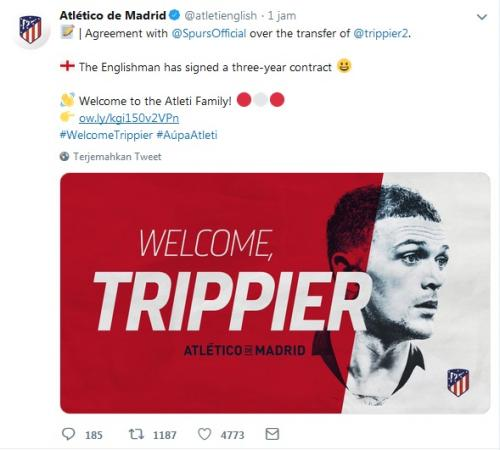 Atletico Madrid umumkan transfer Kieran Trippier (Foto: Twitter/@atletienglish)