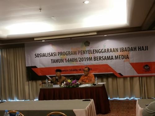 Kemenag sosialisasi program penyelenggaraan ibadah haji dan umrah 2019 di kawasan Senen, Jakarta, Kamis (18/7/2019). (Foto : Fakhrizal Fakhri/Okezone)