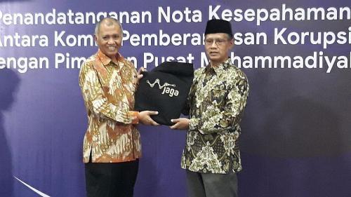 Ketua KPK Agus Rahardjo dan Ketua PP Muhammadiyah Haedar Nashir