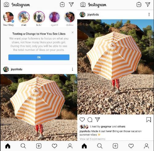 Instagram sembunyikan like