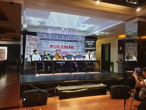 Diskusi MNC Trijaya bertajuk Ngebut Munas Parpol, Jelang Kabinet Baru di Jakarta, Sabtu (20/7/2019). (Foto : Puteranegara Batubara/Okezone)