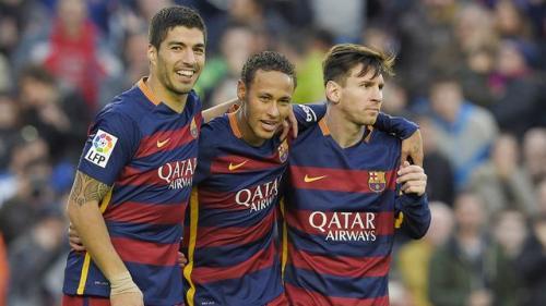 Neymar saat masih di Barcelona, bersama Messi dan Suarez