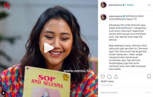 Sherina Munaf mengaku sempat terintimidasi untuk membaca buku. (Foto: Instagram)