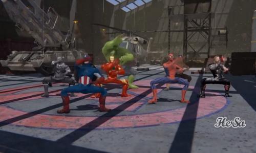 Para punggawa Avengers menarikan tarian Gagah Gaya Yogyakarta. (Foto: YouTube/Hersa Animation)