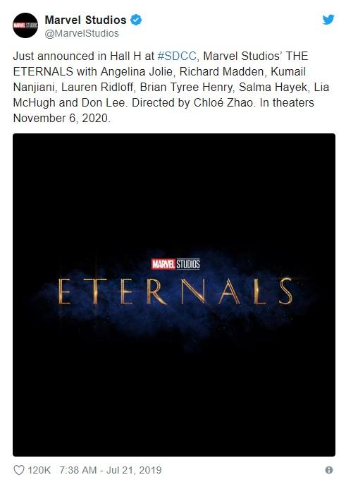 Bergabungnya Ma Dong Seok dalam The Eternals diumumkan oleh Marvel Studios dalam perhelatan San Diego Comic Con pada 20 Juli 2019. (Foto: Twitter)