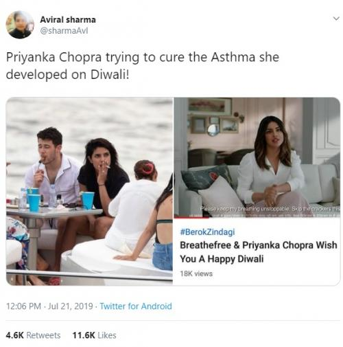 Netizen mengkritik Priyanka Chopra yang merokok saat berlibur di Miami. (Foto: Twitter)