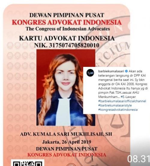Barbie Kumalasari beberkan bukti baru tentang statusnya sebagai advokat. (Foto: Instagram)
