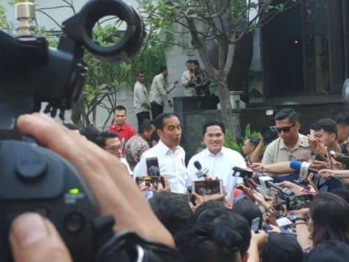 Jokowi di acara pembubaran TKN