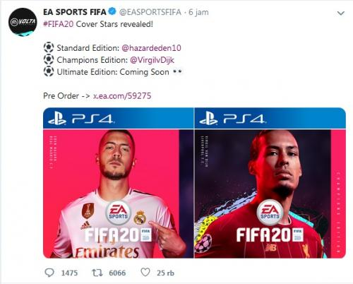 EA Sports FIFA pilih Hazard dan Van Dijk sebagai cover (Foto: Twitter/@EASPORTSFIFA)
