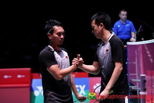 Mohammad Ahsan/Hendra Setiawan sedang bertanding
