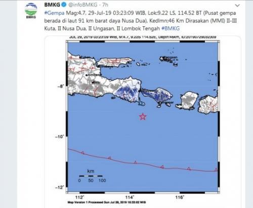 Gempa magnitudo 4,7 terjadi di Nusa Dua Bali. (Foto : Twitter/@infoBMKG)
