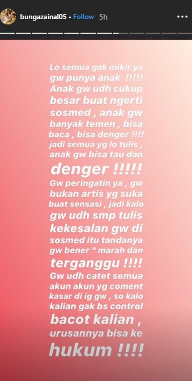 Bunga Zainal geram dengan netizen yang mempersoalkan perbedaan usianya dan suami. (Foto: Instagram)