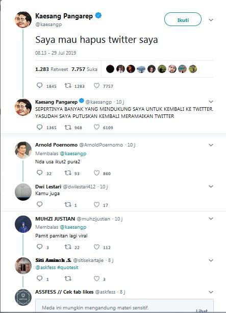 Kaesang Hapus Twitter