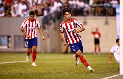 Ekspresi Joaox Felix saat sedang bela Atletico Madrid