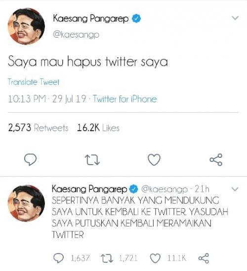 Kicauan Kaesang soal keinginannya mundur dari Twitter dinilai netizen untuk menyindir YouTuber Ria Ricis. (Foto: Twitter)