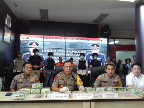 Kapolda Sumsel Irjen Firli memberikan keterangan pers terkait pengungkapan kasus narkoba. (ist)