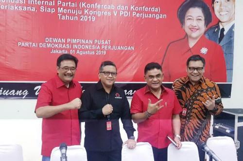 Konferensi pers menuju Kongres V PDIP di Bali. (Foto: Achmad Fardiansyah/Okezone)