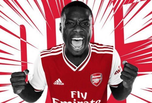 Nicolas Pepe saat diperkenalkan sebagai pemain anyar Arsenal