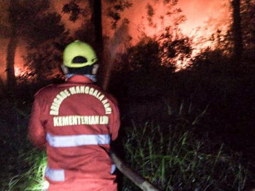Petugas Manggala Agni Daops Banyuasin Berjibaku Padamkan Kebakaran Lahan Gambut Terjadi di Dekat Tol Palembang-Indralaya (foto: Ist)