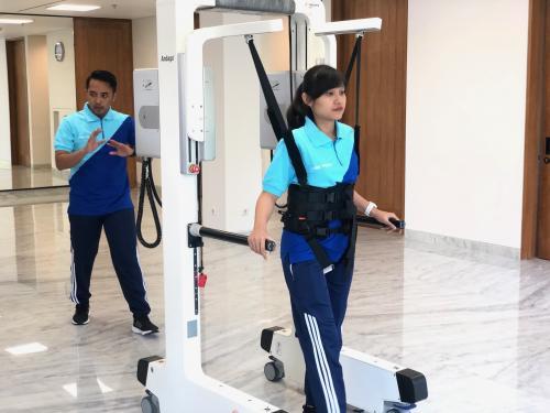 pasien sudah memiliki kemandirian lebih, tetapi membutuhkan support lain untuk dapat berjalan dengan normal.