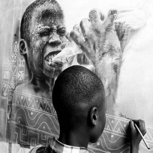 seniman kontemporer asal Ethiopia menciptakan sebuah karya seninya dengan tujuan untuk menarik perhatian kurangnya rasa minat keragaman ras dalam seni lukis.