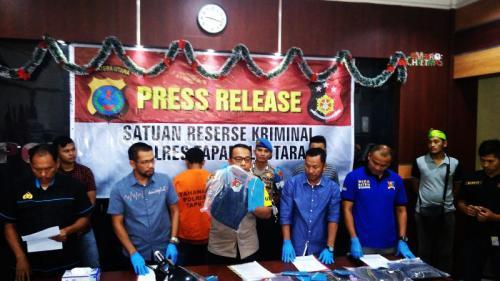 Polres Tapanuli Utara Gelar Perkara Kasus Pembunuhan Siswi SMK Karya Tarutung, Kristina boru Gultom (foto: Robert Fernando H Siregar/Okezone)