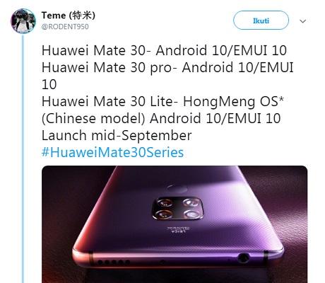 Huawei Bakal Luncurkan Huawei Mate 30 Lite dengan Hongmeng OS