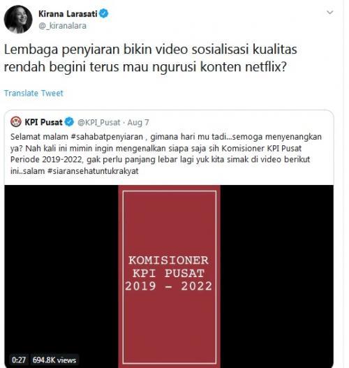 Kirana Larasati kritik KPI