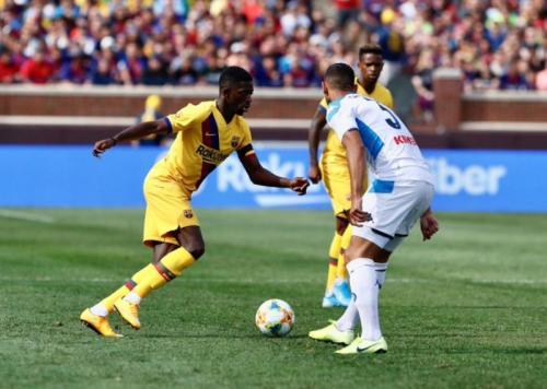 Ousmane Dembele mencetak gol keempat Barcelona (Foto: Situs resmi Barcelona)