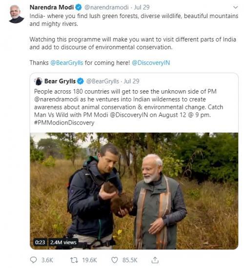 Ucapan terima kasih PM India Narendra Modi untuk Bear Grylls. (Foto: Twitter)