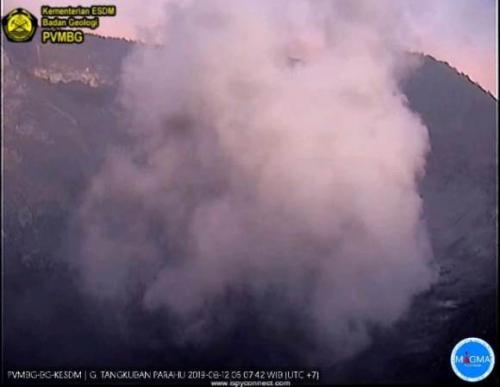 Gunung Tangkuban Parahu erupsi pada Senin (12/8/2019) pagi. (PVMBG)